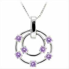 """925 Silver Amethyst CZ Double Circle Floating Pendant, 18"""""""