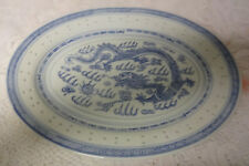 Oval Blue & White Chinese Translucent Rice Eyes Dragon Pattern Plate Platter 14""