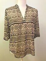 Liberty Love Womens Tribal Top Boho Pattern  Semi Sheer Size XS 3/4 Sleeves New