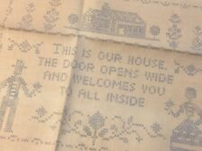 Vtg Linen Embroidery Sampler to sew Welcome To Our House