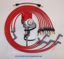 DODGE 440 1973-1978 RED Small Female Cap HEI Distributor & 8mm Spark Plug Wires