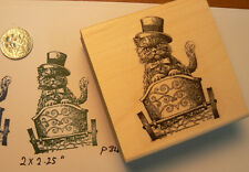 """Cat in wagon rubber stamp WM 2.25x1.5""""  P34"""