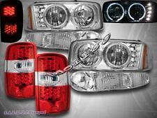 2000-2006 GMC DENALI XL YUKON HEADLIGHTS LED HALO + BUMPER + RED LED TAIL LIGHTS