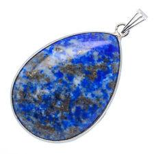"Natural Afghanistan Blue Pyrite Lapis Lazuli Jasper Gemstone Pendant 1 1/2"""