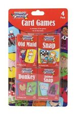 Children's Playing Cards Pack of 4 Games Old Maid Animal Snap Donkey & Snap