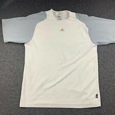 Adidas Men Size Medium Gray & White Short Sleeve Athletic T Shirt Embroidered
