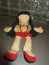 Antique Stitched Face Original Folk Art American Rag Doll * Yarn Braided Hair