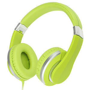 RockPapa Kids Adults Foldable Headsets Headphones for Computer Tablet DVD Green