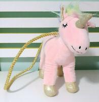 Cotton On Kids Pink Unicorn Handbag w/ Shiny Gold Strap 26cm Tall!
