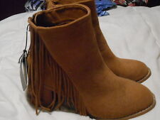 COTTON ON Tan Fringe Ankle Boots - Size 7 / Size 38 *NEW WITH TAGS*
