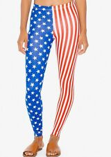 NWT AMERICAN APPAREL USA FLAG PRINT STARS STRIPES COTTON SPANDEX JERSEY LEGGINGS
