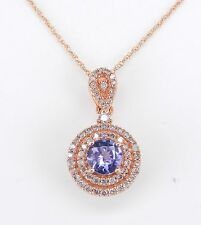 "Diamond and Tanzanite Halo Pendant Necklace Rose Gold Wedding Gift 18"" Chain"