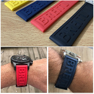 Rubber Strap Fit For BREITLING Pro Diver Watch Band 22mm 24mm Blue Black Yellow