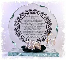 Granddaughter Angel Round Cut Glass Plaque + Poem Personalised Unique Gift #1