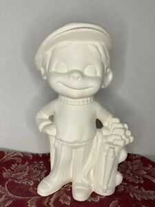 """Smiley Happy Golfer Boy 10"""" Tall from Alberta 697Ceramic Bisque Ready to Paint"""