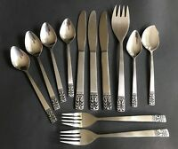 12 Piece Mixed Lot CARLYLE CAMEO Stainless Flatware Forks Spoons Knives
