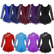 Kids Girls Shiny Figure Ice Skating Dress Roller Skating Ballet Dance Leotard