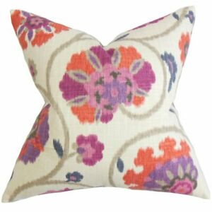 The Pillow Collection QUEEN Purple Tarian Floral Pillow Sham
