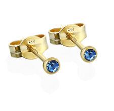 Paar Ohrstecker Gold 333er 2,50mm hellblau Zirkonia Damen Herren Kinder 6586