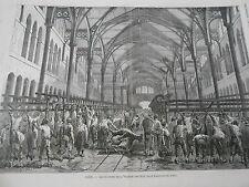 Gravure 1874 - Paris Les Abatoirs de la Villette Abatage des porcs