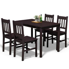 5 Piece Wood Dining Table Set 4 Chairs Home Kitchen Breakfast Furniture Brown