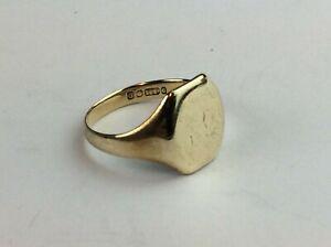 "9ct (375) Yellow Gold Panelled Signet Ring Size UK ""Q 1/2""  Ship Worldwide"