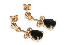 9ct Gold Black Onyx Teardrop dangly earrings Made in UK Gift Boxed