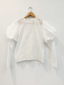 Designer Georgia Alice Size 8 White Cotton Puff Sleeve Perfect Women's Top