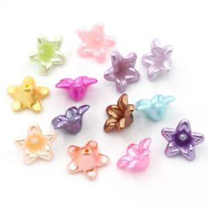 50 perles coupelles, fleur lucite, 13mm 13x13mm, acrylique, mix de couleurs