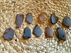 Sea Glass - 10 Large pieces of Top Drilled Brown / Amber