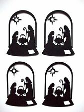 8 Dome Nativity Christmas Silhouette Die Cuts, Black