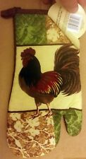 """1 Jumbo Printed Kitchen Oven Mitt (13"""") ROOSTER by BH, brown back"""