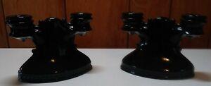 VINTAGE L.E. SMITH  MT PLEASANT SHIELD BLACK AMETHYST GLASS CANDLE HOLDER X 2