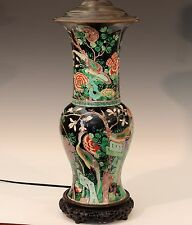 "Antique Famille Noire Verte Chinese Porcelain Vase Lamp Kangxi Mark 19th C 35"" H"