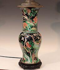 "Antique Famille Noire Verte Chinese Porcelain Vase Lamp Kangxi Mark 19th C 35"" H"