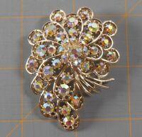 Vintage Signed Art Rhinestone Brooch Pin Floral Spray AB Aurora Borealis