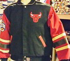 Vintage Jeff Hamilton Leather Twill Chicago Bulls Jacket (Large)