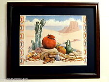 SOUTHWEST PICTURE INDIAN POTTERY CACTUS DESSERT MATTED FRAMED 16X20