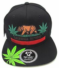 California Republic Marijuana Snapback Cap Hat 420 THC Cannabis Dope Black NWT