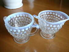 Fenton Hobnail White Opalescent Glass Creamer Sugar Vintage Moonstone