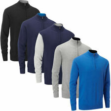Acrylic Patternless Zip Neck Jumpers & Cardigans for Men