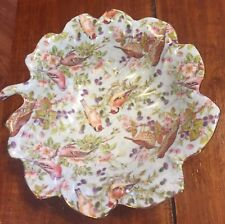 Bird Chintz Collection China Bowl In The Shape Of A Leaf Light Blue Gold Trim