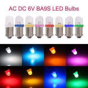 100Pcs AC DC 6V 6.3V T11 T4W BA9S H6W 1895 LED Pinball Light Bulbs Non-polarity