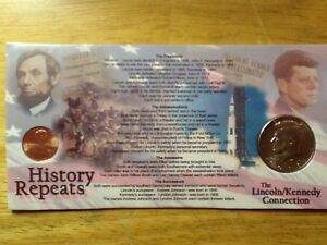 Lincoln/Kennedy Connection-History Repeats;Full Color Card with 2021 Half & Cent