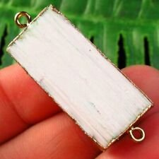 Wrapped Natural Energy Selenite Stone Oblong Connector Pendant Bead S03537