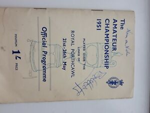 Programme 1951 Amateur Golf C'ship, Porthcawl, signed Bob Hope, Norm von Nida