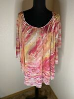 One World Live And Let Live Flowy Blouse Size M