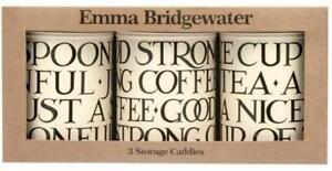 Emma Bridgewater Black Toast 3x Storage Canisters Kitchen Tea Coffee Sugar Jars