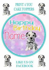 ND3 Dalmatian Puppy cute Birthday personalised round cake topper icing