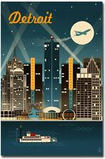 "Detroit, Michigan Retro Skyline Travel Refrigerator Magnets Size 2.5"" x 3.7"""